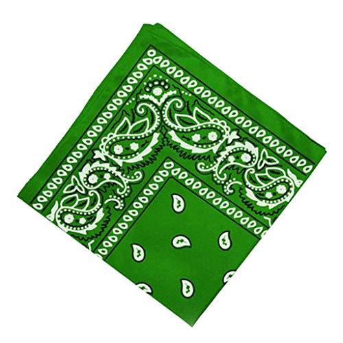 harayaa Pañuelo de Bandana con Estampado de Paisley de Doble Cara, Pañuelo para La Cabeza, 22 X 22 - Verde, unico
