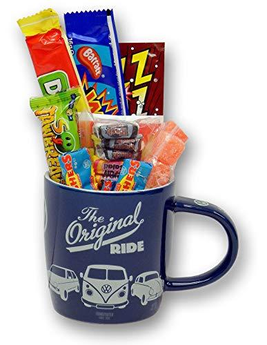 Volkswagen The Original Ride Retro Mug filled with 80s Sweets. Ft. camper van, beetle etc.
