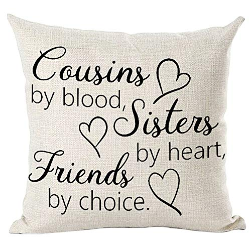 ramirar Black Word Art Quote Cousins by Blood Sister by Heart Friends by Choice Inspirational Decorative Throw Pillow Cover Case Cushion Home Living Room Bed Sofa Car Cotton Linen Square 18 x 18 Inch