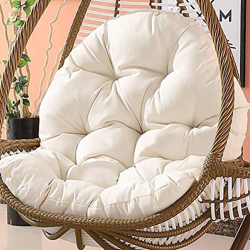 XHNXHN Fotel wiszący, antypoślizgowe podkładki na krzesła, kołyska koszyk wiklinowy krzesło dla dorosłych poduszka na fotel bujany wewnątrz podkładka na balkon miękka biała 86 x 120 x 15 cm (34 x 47 x 6 cali)