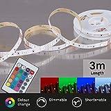 Briloner Leuchten 3m Band, dimmbar, selbstklebend, 90xRGB Streifen, Lichtband, Licht-Leiste, Lichtschlauch, LED-Stripe, Plastik, 12 W, weiß