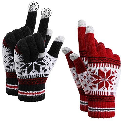 TAGVO Winter Touchscreen Gestrickte warme Handschuhe,Thermisch elastische Fleece warme Arbeitshandschuhe für Damen & Herren,zum Laufen Skifahren Radfahren Wandern Fahren-Einheitsgröße