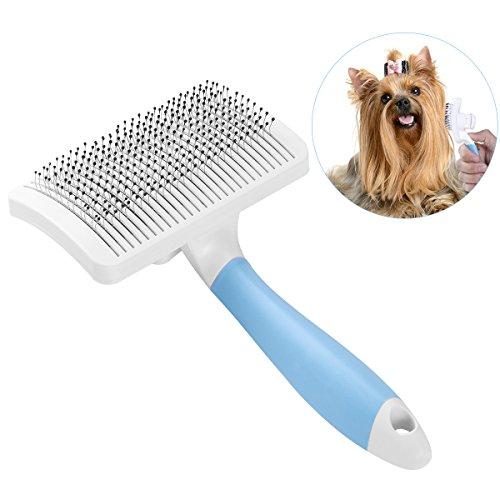 UEETEK Hundebürste Katzenbürste,Selbstreinigende Slicker Bräutigam Bürste Hundekamm Hund Enthäuten Bürste mit einem Knopf zum Entfernen von langen / kurzen Haaren