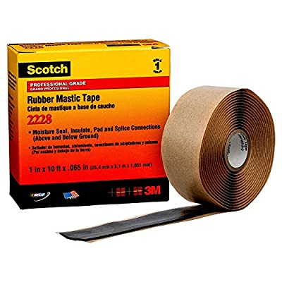 "3m Rubber Mastic Tape, Mastic Tape Adhesive, 65.00 mil Thick, 1"" X 10 ft, Black, 1 EA 2228-1X10FT - 1 Each"