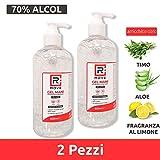 rmove gel igienizzante mani antibatterico 70% alcol disinfettante mani profumato al limone arricchito con olii essenziali di aloe e timo (2, 500ml)
