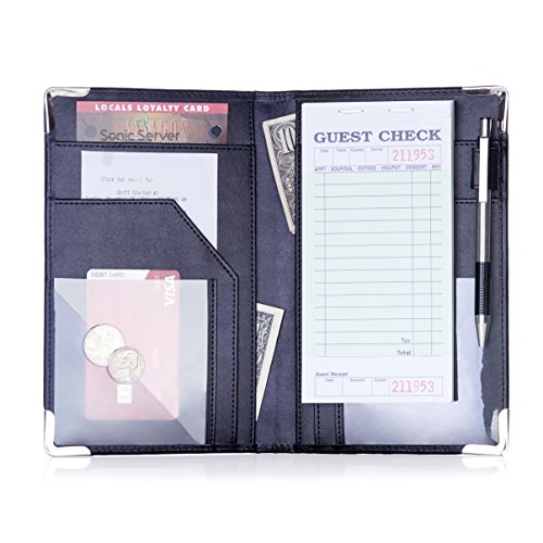 Sonic Server Book and Waiter Waitress Organizer for Waitstaff   Inner Color Black   10 Pockets Holds Guest Checks, Money, Receipts, Order Pad with Pen Holder Loop