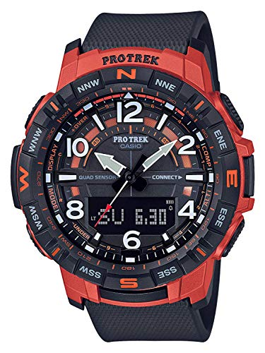 Casio Protrek Mens Black & Orange Quad Sensor Smartphone Link Watch PRT-B50-4