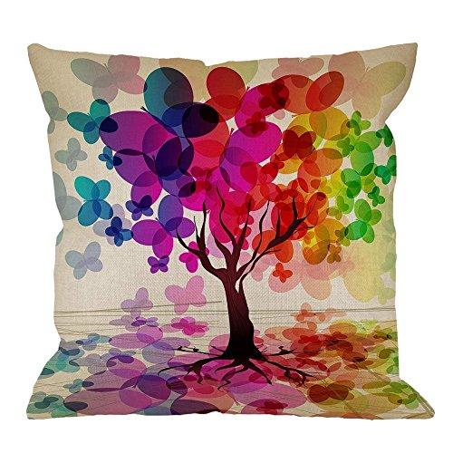 18' Imágenes Dobles Cojines Fundas Sencillas Pillowcase Árbol Árbol Colorido Hoja Parece Mariposa Púrpura VerAzul Funda Almohada Suave clásicas Cushion Cover