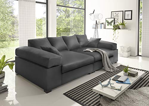 Reboz Big Sofa weiß grau beige braun schwarz Megasofa Kunstleder (Grau)