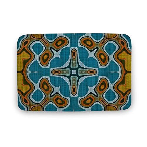 VinMea Zachte deurmat, Teal Turkoois Blauw Groen Oker Geel Hip Orient Bali Art Deur Matten Tapijt Voor Badkamer Keuken Slaapkamer Ingang Vloermatten, Grappige Bad Mat, 16