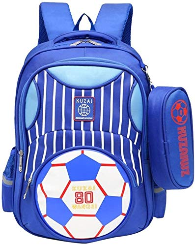 Best Gift Bookbag,Elementary Football Prints Backpack, Children Soccer School Bag Primary Students Book Bag with Pencil Case for Boys, Wheels,Colour (Color : Light Blue, Size : Backpack)