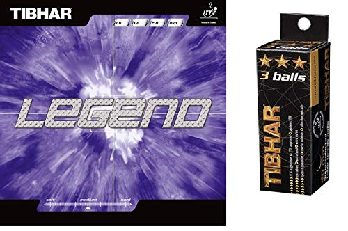 TIBHAR Legend (Black) - Table Tennis Rubber, Free, TIBHAR 3 Star 40 mm ITTF Approved Celluloid Balls (Pack of 3)