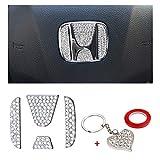 PIFOOG Bling Crystal Car Steering Wheel Emblem Cover Center Logo Decoration Sticker for Honda Logo Accessories Accord Civic CR-V XR-V HR-V Silver 4PCS (Logo Cap)