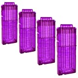 OIMIO Soft Bullet Clips 12-Darts Quick Reload Clips Magazine Clips for Nerf Toy Dart Gun 4 pcs (Purple)