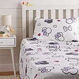 AmazonBasics by Disney Minnie Mouse Purple Love Bed Sheet Set, Twin