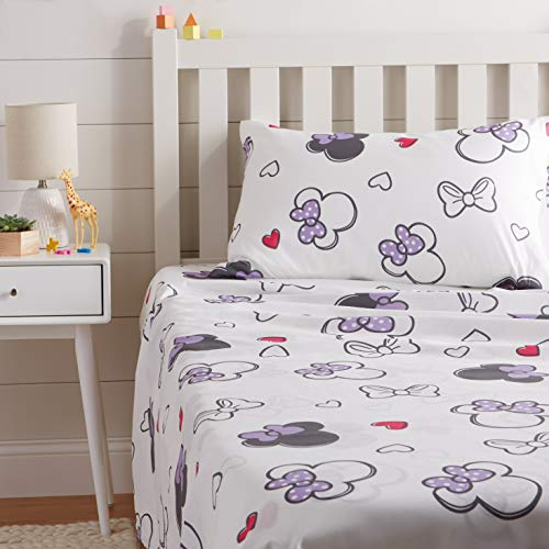 AmazonBasics by Disney Minnie Mouse Purple Love Bed Sheet Set, Twin
