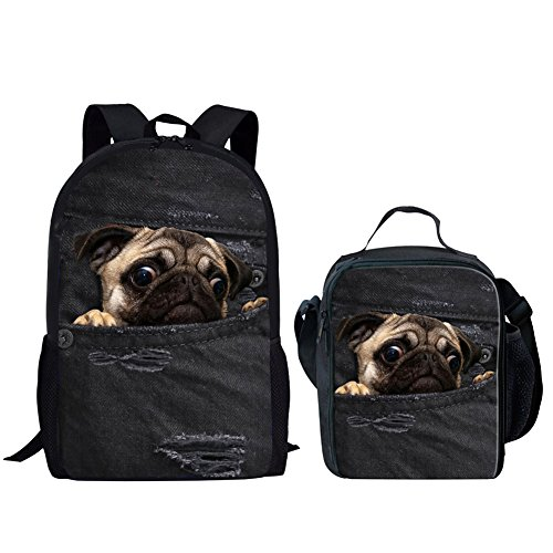 HUGS IDEA Cute Pug Pattern Kids Backpack Girls Boys School Bag with Thermal Lunch Box
