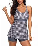 Zando Women's Slimming Skirt Swimsuit Dress Tummy Control 2 Piece Swimdress Swimsuit Long Torso Tankini Swimwear with Boyshort Dark Grey Diamond L (fits like US 10-12)