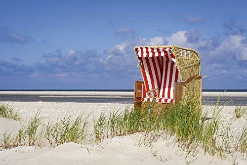 Artland Qualitätsbilder I Bild auf Leinwand Leinwandbilder Wandbilder 60 x 40 cm Landschaften Strand Foto Bunt C7HH Strandkorb 337