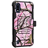 MINITURTLE Compatible with Samsung Galaxy A01 2020 Hard Shell Cover Hybrid Case Kickstand with Holster Clip [Clip Armor] - Pink Tree Camo