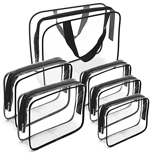 Clear Makeup Bags, APREUTY TSA Approved 6 Pcs Cosmetic Makeup Bags Set...