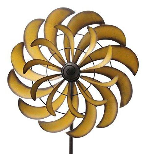 Schlichtes & Modernes Windrad Garten - Metall - Ø 60cm/Höhe: 230cm - Wetterfest - Hochwertige Qualität & Stabiler Standstab - Gartenstecker/Metallwindrad/Windräder - Gartenwindrad
