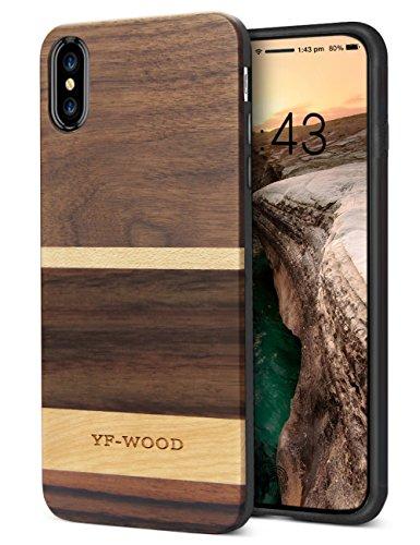 YFWOOD Case Ersatz für iPhone XS/X Echtes Holz Premium Schutzhülle Dual Layer Protect Wood Gemischter Hybrid Stoßfänger Handy-Ersatz für iPhone XS/X, 5# (5,8 Zoll)