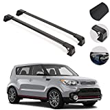 Roof Rack Crossbars Fits KIA Soul 2014-2019 | Luggage Kayak Cargo Hard-Shell Carrier | Aluminum Rooftop of Your Car | Black 2 Pcs.