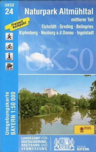 UK50-24 Naturpark Altmühltal mittlerer Teil: Eichstätt, Greding, Beilngries, Kipfenberg, Neuburg a.d.Donau, Ingolstadt, Heideck, Berching, Dietfurt ... Karte Freizeitkarte Wanderkarte)