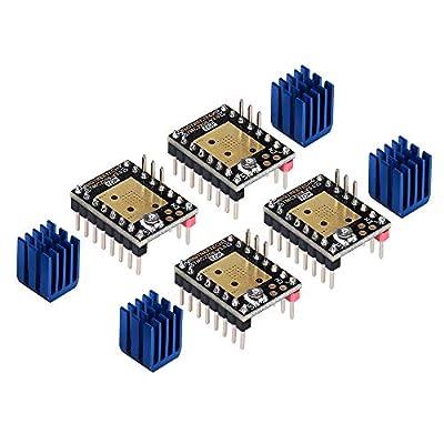 KINGPRINT TMC2208 Stepper Mute with Heat Sinks Driver Stepstick Mute Replacement A4988 Drv8825 for 3D Printer(Pack of 4 PCS)