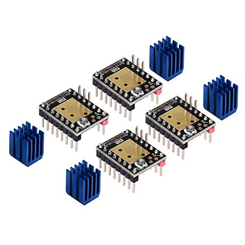 KINGPRINT TMC2208 v3.0 Stepper Mute with Heat Sinks Driver Stepstick Mute Replacement A4988 Drv8825 for 3D Printer(Pack of 4 PCS)