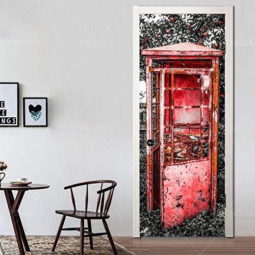 Pegatinas de puerta de arte Arte de puerta 95x215cmCabina de teléfono rojo retro Pegatinas Decorativas de Puerta Autoadhesivo 3D Arte Vinilo para Puertas Mural PVC Pegatinas de Pared Foto Poster despr