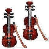 Chalyna 2 Pieces Miniature Wooden Violin Mini Violin Model Mini Wooden Violin Toy Mini Wooden Violin Model Dollhouse Miniature Violin for Dollhouse Accessory, 2.56 x 0.98 x 0.39 Inch