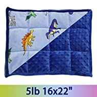 """MAXTID Weighted Lap Pad for Kids 5 Pounds Kids Lap Blanket Sensory Pad, Blue Dinosaur 16""""x22"""" for Boys Gift"""