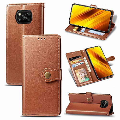 zhuwei para El Estuche NFC De Xiaomi Poco X3, Estuche De PU con Patrón Magnético Redondo De Revit con Portatarjetas(Color:MARRÓN)