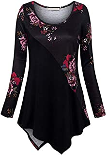 Women's Plus Size Long Sleeve Print Loose Fitting Round Neck Swing Dress T-Shirt Pullover Tops