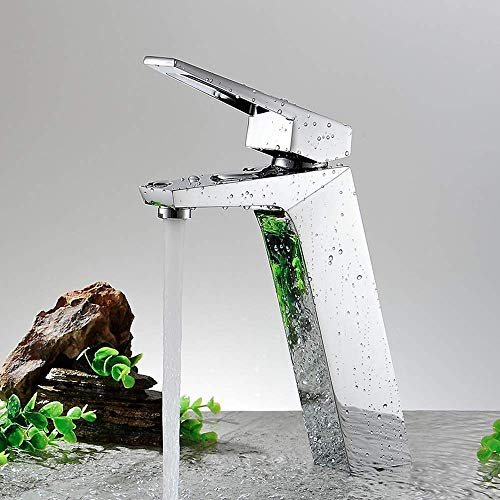 Grifos Lavabo de baño Altura de cobre completa Grifo de plata inclinable Agua fría y caliente Acondicionamiento Grifo de un solo orificio