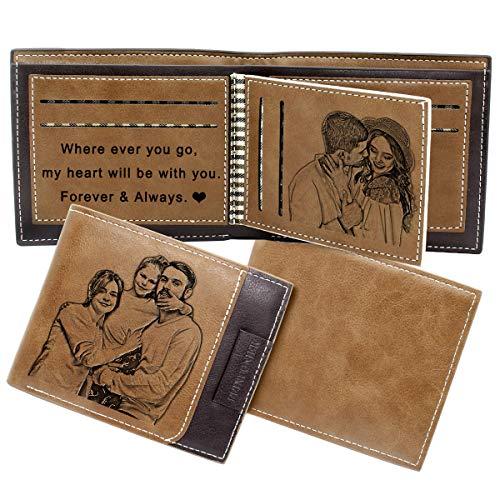 Billetera de Foto Personalizada Hombre, Cartera Cuero Personalizado para Papá Esposo Hijo Novio