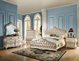 ACME Chantelle Eastern King Bed - - Rose Gold PU & Pearl White