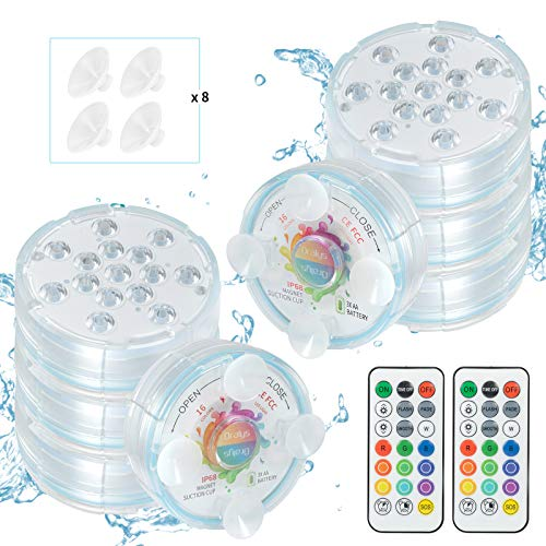 Oralys Submersible LED Pool Lights - Waterproof Underwater Bathtub RGB Shower Light with 16 Colors,Magnetic,RF Remote,Suction Cups,for Inground Above Ground Pool,Hot Tub,Fish Tank,Fountain-8 Pack