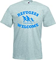Refugees Welcome T-Shirt Graumeliert