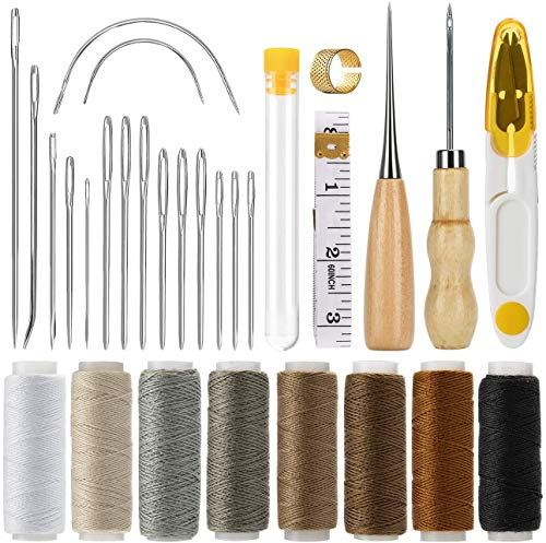 Wuudi Leder Wachsfaden Cord Nähen Wachsfaden für Lederhandwerk DIY Sewing Craft (Waxed Thread+Tools)