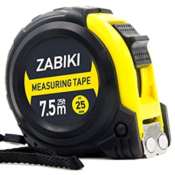 Zabiki Measuring Tape Measure 25 Ft Decimal Retractable Dual Side Ruler with Metric and Inches Easy to Read for Surveyors Engineers and Electricians with Magnetic Tip and Rubber Protective Casing