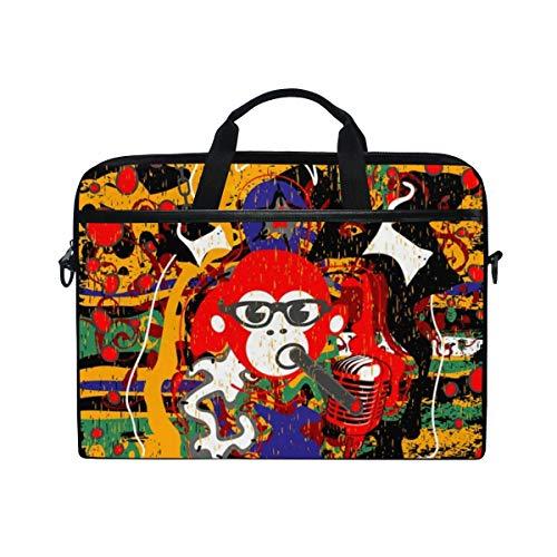 LOSNINA 15-15.4 inch Laptop Tasche,Karaoke,Neue Leinwand Drucken Muster Aktentasche Laptop Schulter Messenger Handtasche Case Sleeve
