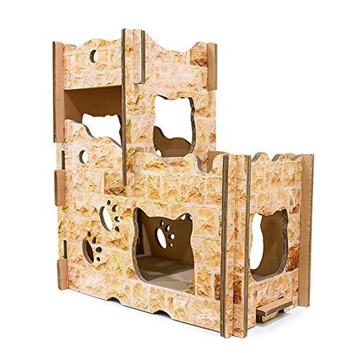 GXHGRASS DIY kattennest, golfkarton, kattenslijper, kattenkrabplank, klimrek, meerlaags design, 75 x 40 x 80 cm, geschikt voor meerdere katten, die tegelijkertijd spelen