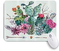 VAMIX マウスパッド 個性的 おしゃれ 柔軟 かわいい ゴム製裏面 ゲーミングマウスパッド PC ノートパソコン オフィス用 デスクマット 滑り止め 耐久性が良い おもしろいパターン (とげのある植物の花の矢の羽の自由奔放に生きるスタイルの花束とサボテンスプリングガーデン)