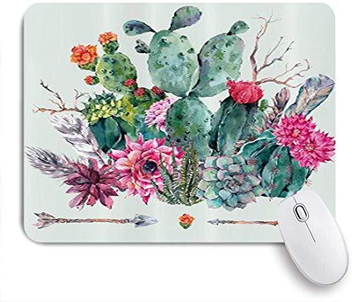 Benutzerdefiniertes Büro Mauspad,Kaktus-Frühlingsgarten mit Boho-Art-Blumenstrauß von dornigen Pflanzen-Blüten-Pfeil-Federn,Anti-slip Rubber Base Gaming Mouse Pad Mat