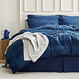 Bedsure Bed in a Bag - Waffle Weave Queen Comforter Sets, 8 Piece Bedding Comforters & Sets, Super Soft & Cozy All Season Complete Set (Queen, Navy)