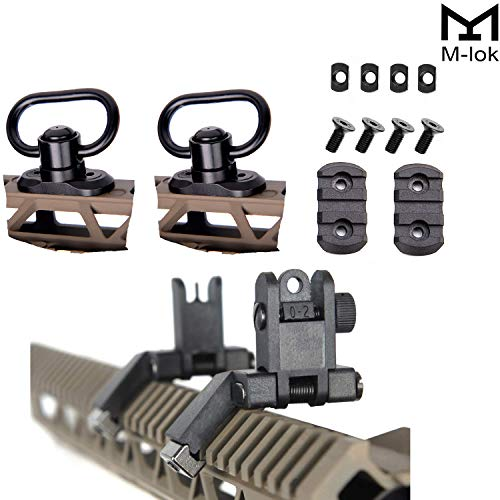 "IORMAN Super Value Pack 2 Pcs Mlok Quick Detach Release 1.25"" Push Button QD Sling Swivels 2 Pcs M-lok 3 Slots mounts 1 Pcs Flip Up Sight 45 Degree Offset Rapid Transition Sights"