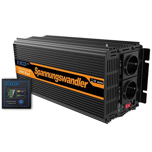 EDECOA Spannungswandler 2000W Modifizierte Sinus Wechselrichter 12V 230V 2x USB und Fernbedienung wechselrichter wohnmobil 2000w wechselrichter solar